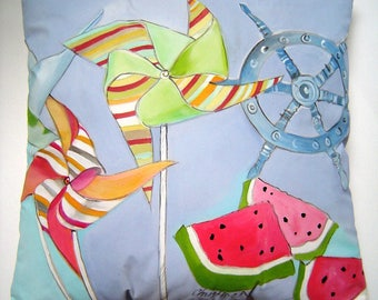 Pinwheels & Watermelon Pillow 17x17 Fun Whimsical Summer Accent Hand Painted Art Ocean Blue Background Beach Lake Cozy Cottage Pillow Decor