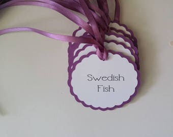 Wedding Candy Buffet Tags Round Scallop Design Personalized with your Wording and Color Choices