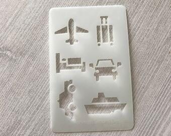 Bullet Journal Stencil, Planner Stencil, Travel Stencil, Credit Card Sized Stencil, Airplane, Boat, Car
