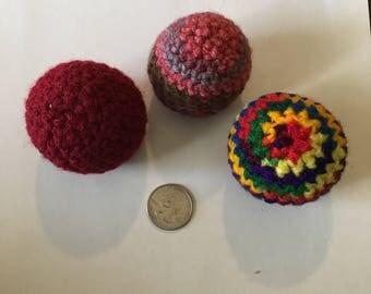 Handmade Crochet Catnip Balls with Organic Catnip - Set of 3
