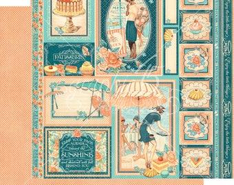 Graphic 45 Cafe Parisian Creme de la Creme, set of 2 sheets 12x12 double sided