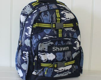 Large Backpack With Monogram (Large Size) Pottery Barn -- Navy Bug