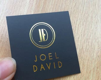 "200 Business Cards or hang tags - Mini Square 2""x2"" - 16 PT black matte stock - Metallic foil - choice of gold, silver and more"