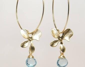 Blue topaz earrings, December birthstone earrings, grade AAA topaz drop orchid 14K gold filled hoop earrings