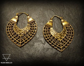 Boucles d'oreille ethniques laiton # ethnic brass hoop # tribal earrings 71-774