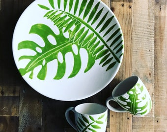 Extra large serving platter, green and white, palm tree platter