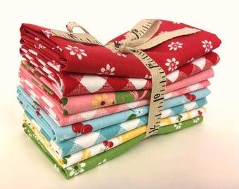 Riley Blake Lori Holt Sew Cherry 2 Fabric Fat Quarters - Mid Stack Fat Quarter Bundle - Lori Holt Fat Quarters - Lori Holt Fabric