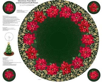Christmas Tree Skirt Panel - Poinsettia Grandeur by Quilting Treasures - Poinsettia Tree Skirt Panel