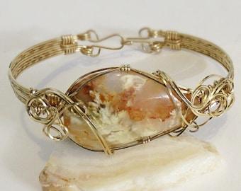 Gold Bracelets For Women - 14k Gold Bracelet - Womens Gold Bracelet - Wire Wrapped Stones - Wire Wrap Bracelet - Plume Agate Bracelet
