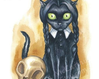 """SALE Wednesday Addams Cat - Watercolor 8x10"""" print"""
