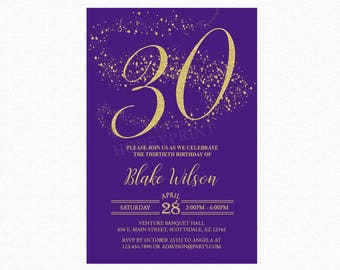 Milestone Birthday Party Invitation, Purple, Gold Glitter, Personalized for any Age, Printable or Printed