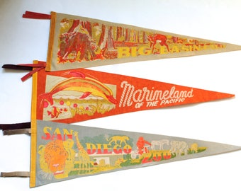 Vintage 1950's-60's Lot of 3 Souvenir Wall Pennants! Marineland, San Diego Zoo and Big Basin, CA!