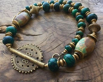 Chrysocolla & Turquoise necklace, African brass beads, ethnic tribal necklace