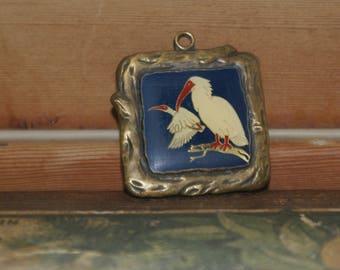Vintage Resin Metal Japanese Crane Pendant