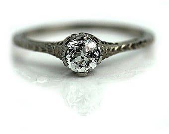Antique Solitaire Diamond ring .45ctw European Cut Diamond Vintage Engagement Art Deco Ring Filigree Dainty Diamond Ring Ethical Engagement!