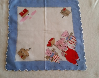 """Vintage children's """"Three Little Pigs"""" hanky with googly eyes"""