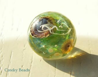 Handmade Lampwork Shank Button - Green with Jelly Fish - Creeky Beads - SRA