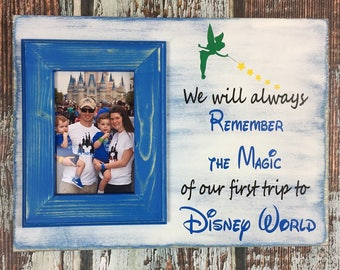 Hand Painted, Personalized Picture Frame, 4 x 6 Blue Weathered Picture Frame, Disney Picture Frame, Disney Frame, Family, Vacation