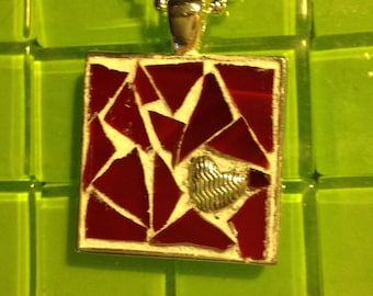 Heart with red mosaic background pendant