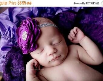 ON SALE Purple Headband, Baby Girl Headband, Newborn Headband, Newborn Photo Prop, Photography Prop, Girl Headband