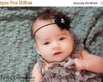 ON SALE Black Headband, shabby chic, newborn headband, baby headband, newborn photography prop