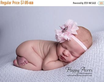 ON SALE Pink Newborn headband, baby headband, girl headband, photography prop, newborn photo prop