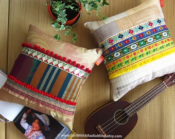 2 Ethnic Throw Pillows Set - Gold, Yellow, Red Exotic Orient Indian Cushion Set - Home Deco Gift