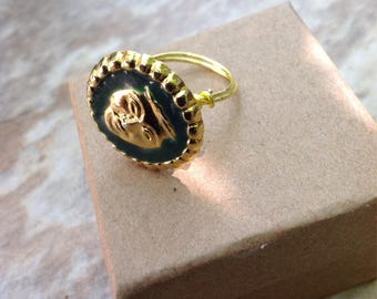 Gold and green handmade Vintage button wirewrapped statement ring
