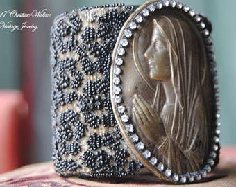 Divine Lady--Vintage Black Beaded French Holy Medal Placquette Rhinestone CUFF BRACELET