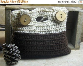 Handmade Crochet Tablet Ipod Ipad Storage Coupon Organizer Make Up Bag Pouch in Tan & Coffee Brown with genuine Tree Branch buttons