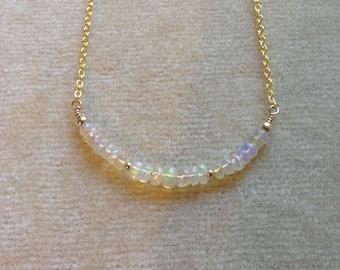 Ethiopian Welo Opal Bar 18K Gold Filled Minimal Layering Necklace 679