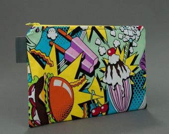 Food Fight Zippy Bag, Zippered Pouch, Small Tablet Case, Cotton Zipper Bag, Gifts for Her, Gifts Under 20, Foodie Gift