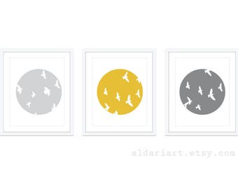 Bird Wall Art - Bird Art Print - Set of 3 - Minimalist Bird Wall Art  - Custom Color - 5x7 or 8x10 - Aldar Art