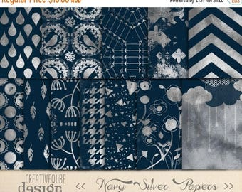 80% Off SALE Digital paper, Digital Navy and Silver Paper, Digital paper pack - Instant download - 12 Digital Papers - Silver Foil