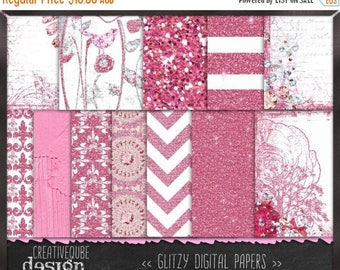 80% Off SALE Digital paper, Digital Scrapbook paper pack - Instant download - 12 Digital Papers - Pink glitter