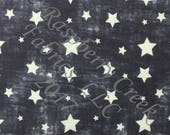 Navy and White Vintage Faded Look Stars 4 Way Stretch FRENCH TERRY Knit Fabric, Patriotic Prints By Ella Randall for Club Fabrics, 1 Yard