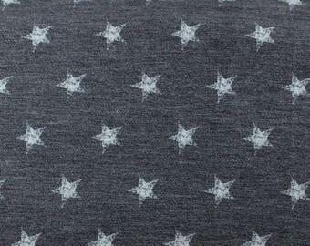 Navy Blue and Grey Star French Terry Knit Sweatshirt Fabric, 1 Yard
