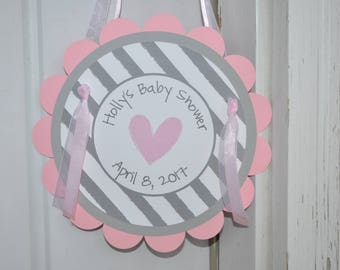 Girls Baby Shower Door Sign - It's A Girl Baby Shower Decorations - Pink and Gray - Girl Baby Shower Decorations - Shower Party Sign