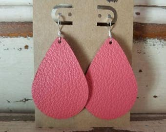 Leather Earrings, Leather Jewelry, Coral, Pink,  Statement Earrings, 100% Leather, Tear Drop, Lightweight