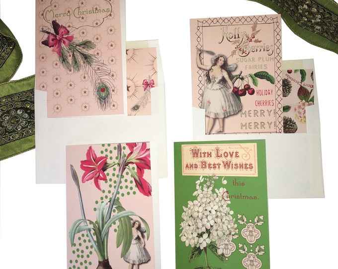 """Christmas no longer available! Don't miss the Spring Collection coming soon! Fairy Christmas Card Set- """"Sugar Plum Fairy"""" -"""