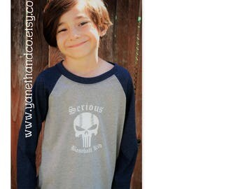 Serious Baseball Kid shirt,Punisher Skull Baseball Raglan,Punisher Baseball Skull Kids shirt,Custom Serious Baseball kid Skull raglan