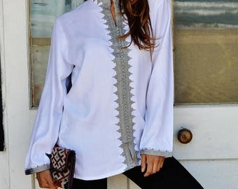 KAFTAN SUMMER 10% SALE Christmas gifts-Winter Trend Boyfriend White Moroccan Kalina Shirt-women's shirt, resortwear,gifts, bohemian, winter