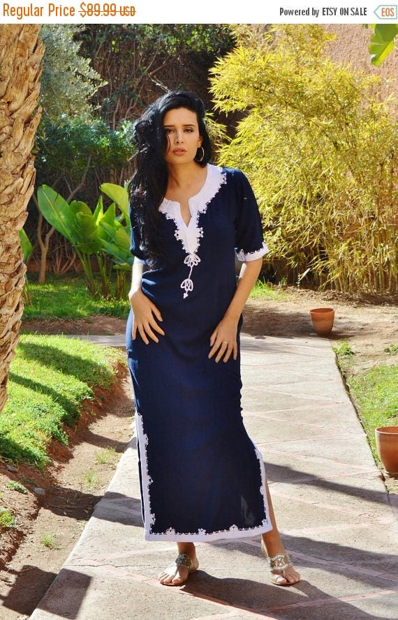 25% OFF Autumn Sale// Blue Kaftan,Trendy Clothing Navy Blue  with White Khalida Moroccan Caftan Kaftan -maxi, resort, beach cover up, Birthd