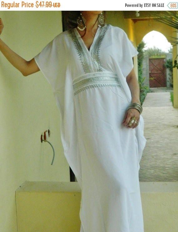 25% OFF Autumn Sale// White Resort Caftan Marine Style- beachwear, loungewear, maternitywear,perfect for honeymoon, birthday gifts for her