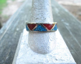 Vintage Men's Mexican Alpaca Crushed Turquoise & Coral Band Ring - Men's Southwestern Alpaca Crushed Turquoise Inlay Ring