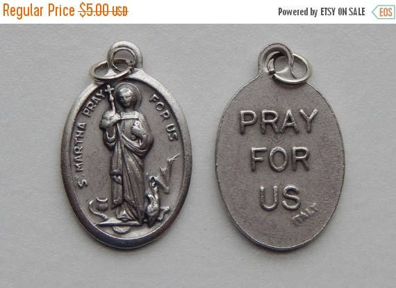 CLOSING SALE 5 Patron Saint Medal Findings - St. Martha, Die Cast Silverplate, Silver Color, Oxidized Metal, Made in Italy, Charm, Drop, RM7