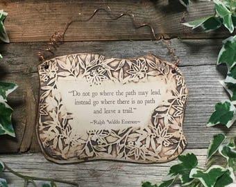 Handmade Ralph Waldo Emerson Quote Ceramic Plaque