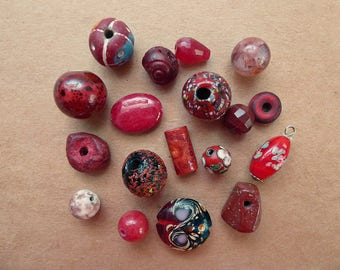 18 Red Beads, Glass, Ceramic, Gemstone, Composition
