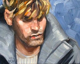 NYC Boy, 9x12 inches oil on canvas panel by Kenney Mencher