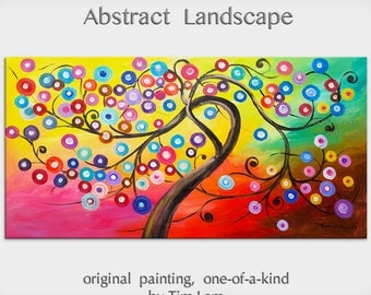 sale Original Surreal Blossom tree painting, large colorful abstract oil painting by Tim Lam 48x24
